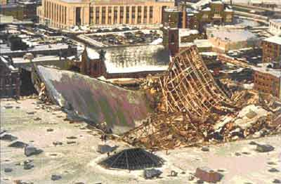 A picture of the Hartford Civic Center collapse from 1978.