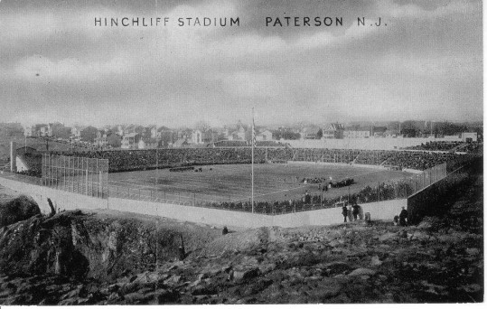 An aerial photograph of Hinchcliffe Stadium in its golden era.