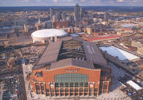The outside of Lucas Oil Stadium in Indianapolis.