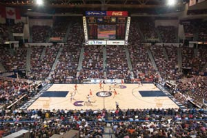 A view of the court at the XL Center in Hartford, CT.